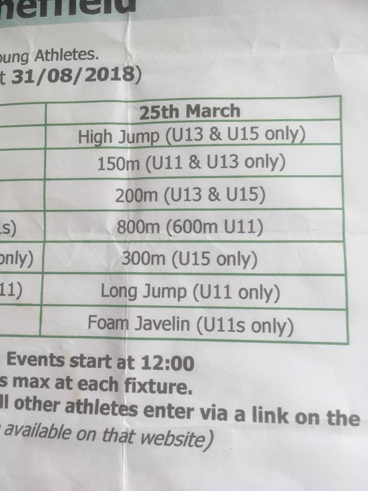 172b51f9862c9 Sunday March 25th final EIS of indoor series- Please contact Jude ASAP  regarding event selection before Wednesday 07792813045